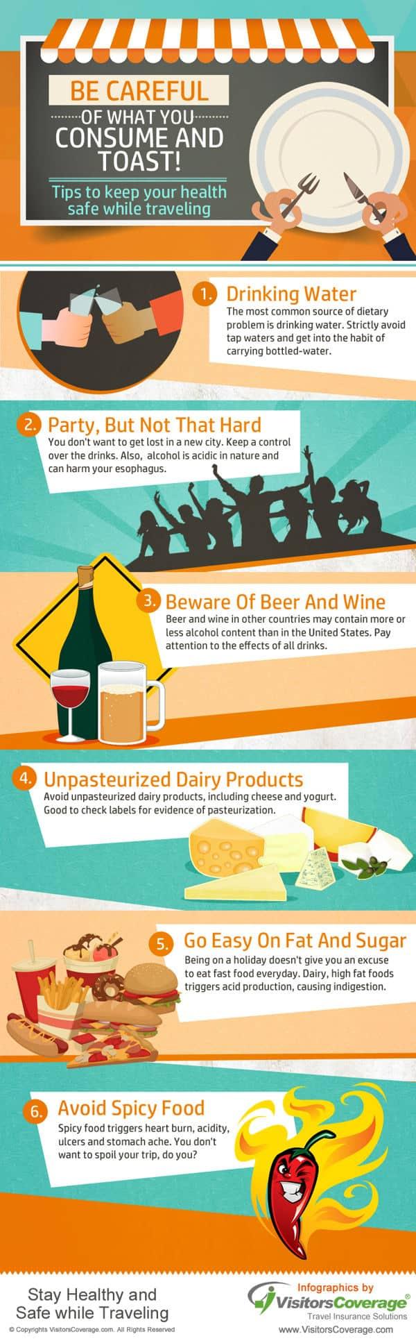 mantente saludable durante tus viajes infografia