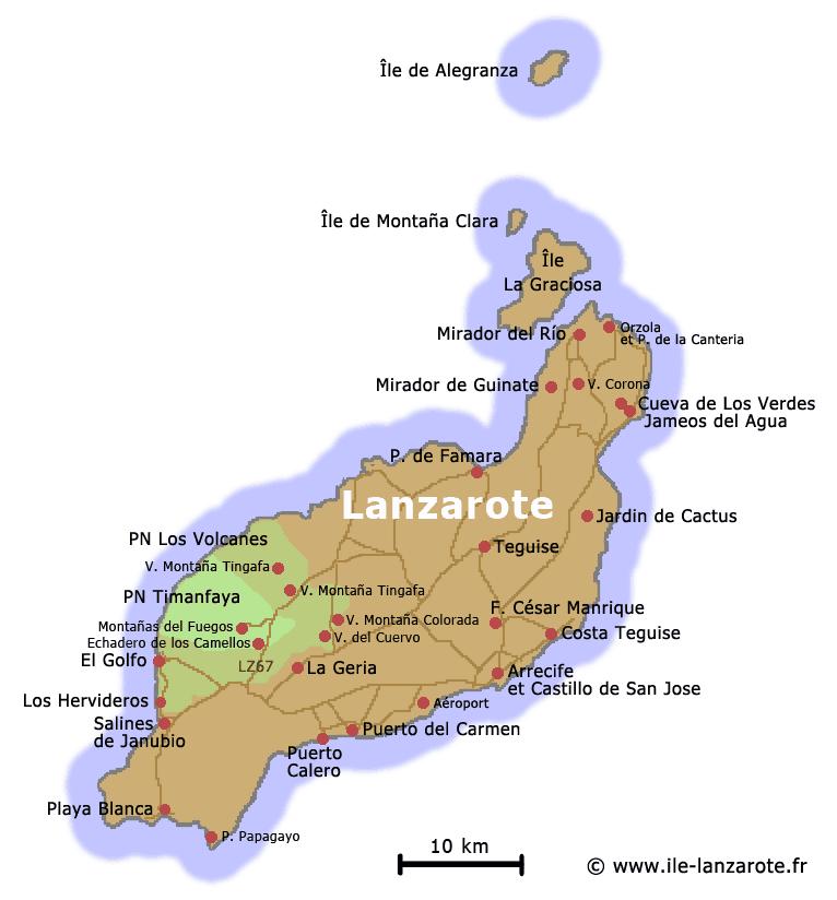 Mapa Parque Natural de Los Volcanes en Lanzarote